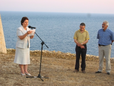 Minister Giovanna Debono at opening of Mgarr ix Xini Tower 3.7.09